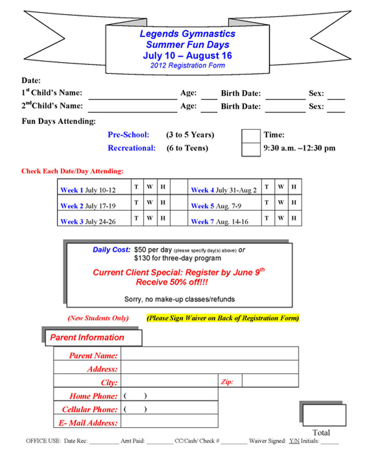 Legends Gymnastics - Registration Form-Summer Camp 2012